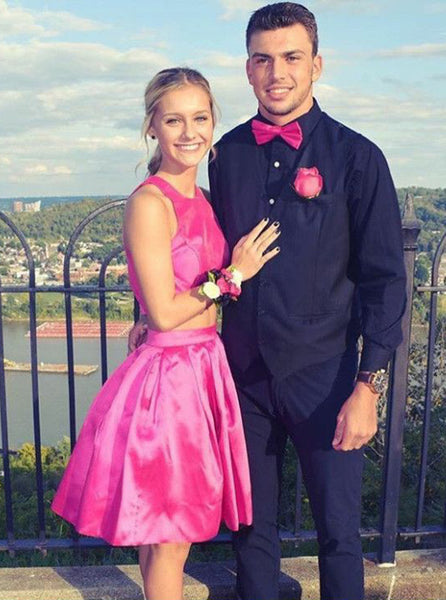 Fuchsia Homecoming Dresses,Two Piece Homecoming Dress,Simple Homecoming Dress,HC00167