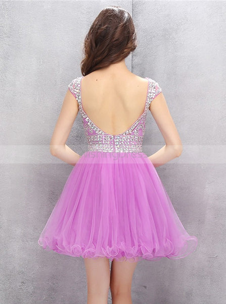 Fuchsia Sweet 16 Dresses,Open Back Sweet 16 Dress,Cute Sweet 16 Dress,SW00009
