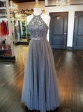 Full Figured Beaded Dress,Grey Prom Dress,Halter Prom Dress,PD00343