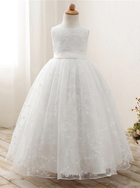 Full Length Flower Girl Dresses,Lace Flower Girl Dress,Princess Flower Girl Dress,FD00076