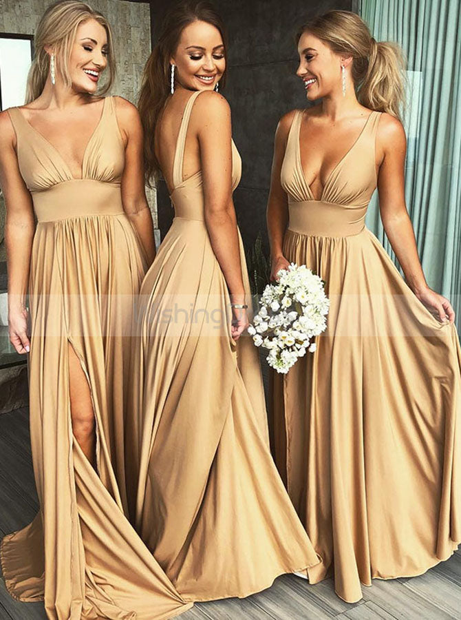 Gold Bridesmaid Dress Bridesmaid Dress With Slit Full Length Bridesmai Wishingdress
