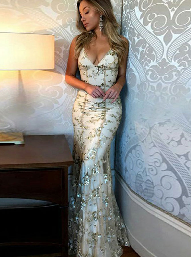 Gold Mermaid Fitted Evening Dress Lace Tight Prom Dress