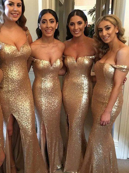 Golden Bridesmaid Dress,Sequined Bridesmaid Dress,Off the Shoulder Bridesmaid Dress,BD00085