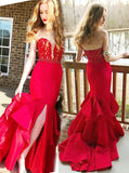 Gorgeous Mermaid Prom Gown,Red Evening Dress with Slit,Strapless Fitted Prom Dress PD00069