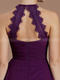 Grape Bridesmaid Dresses,High Neck Bridesmaid Dress,Simple Bridesmaid Dress,BD00257