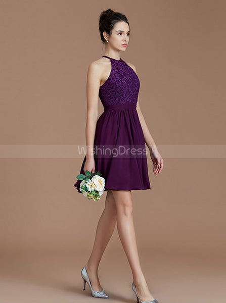 Grape Bridesmaid Dresses,Short Bridesmaid Dress,High Neck Bridesmaid Dress,BD00249