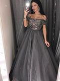Gray Prom Dress for Teens,Beaded Sweet 16 Dress,PD00444