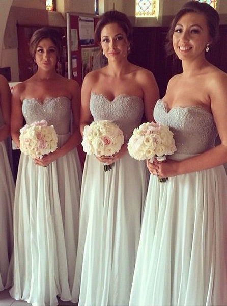 Gray Silver Bridesmaid Dress,Long Chiffon Bridesmaid Dress,Sweetheart Bridesmaid Dress,BD00130
