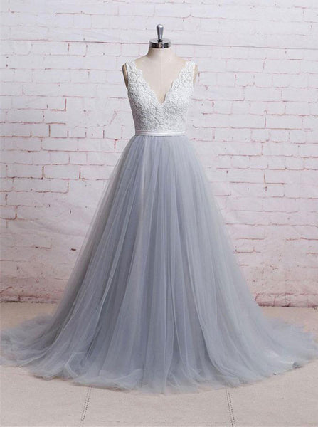 Gray Tulle Wedding Dresses,Aline Wedding Dress,Elegant Wedding Dress,Modest Bridal Gown,WD00062