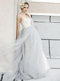 Gray Wedding Dresses,Tulle Wedding Dress,Ball Gown Wedding Dress,Strapless Wedding Gown,WD00163