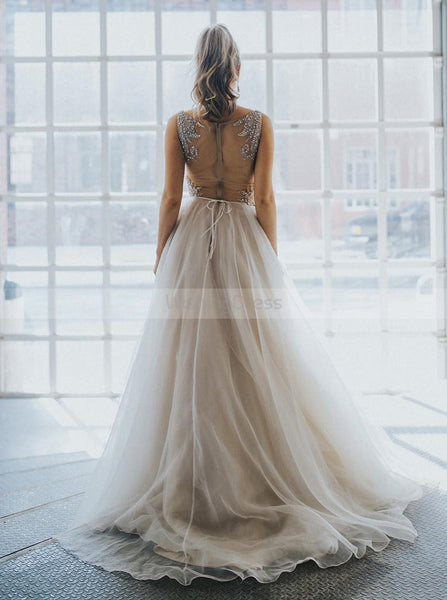 Gray Wedding Dresses,Tulle Wedding Dress,Ball Gown Wedding Dress,WD00082