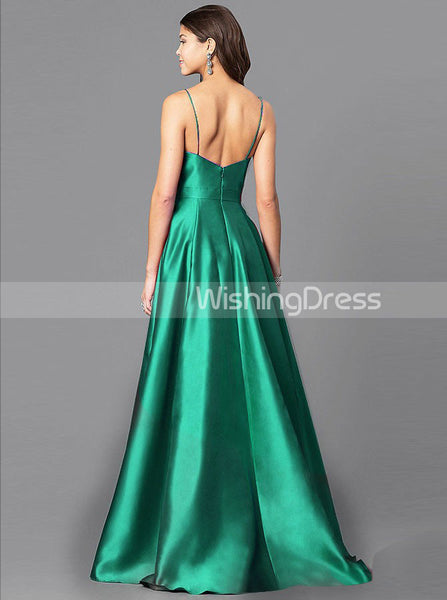 Green Prom Dresses,Simple Prom Dress,Long Prom Dress,Satin Prom Dress,PD00291