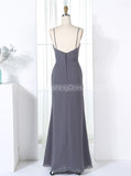 Grey Bridesmaid Dresses,Sheath Bridesmaid Dress,Bridesmaid Dress with Straps,BD00298