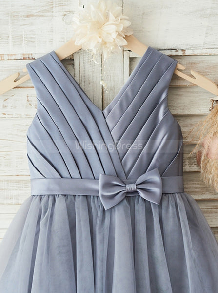 Grey Flower Girl Dresses,Pleated Flower Girl Dress,Short Flower Girl Dress,FD00082