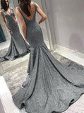 Grey Mermaid Prom Dresses,Formal Evening Dress with Sweep Train,PD00388