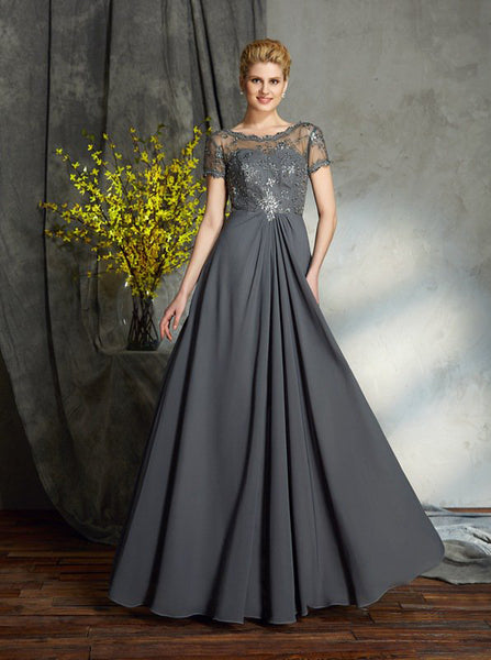 Grey Mother of the bride Dress,Mother Dress with Sleeves,Chiffon Long Mother Dress,MD00037
