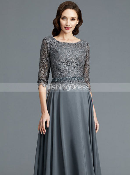 Grey Mother of the Bride Dresses,Mother Dress with Sleeves,Elegant Mother Dress,MD00047