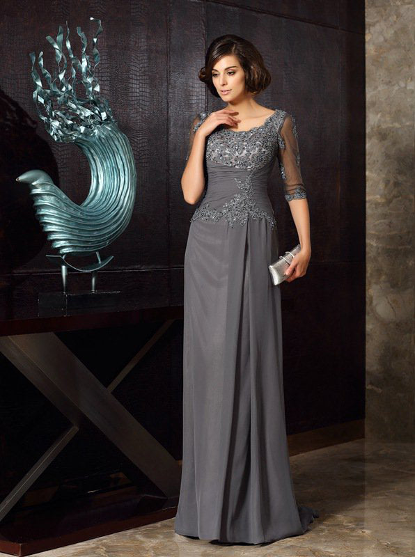 Grey Mother Of The Bride Dresses Mother Dress With Sleeves Long Wedding Guest Dress Md00030