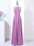 Halter Bridesmaid Dresses,Elegant Bridesmaid Dress,Full Length Bridesmaid Dress,BD00304
