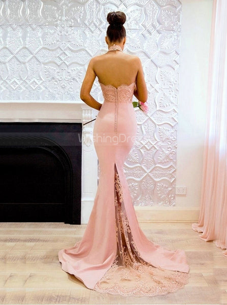 Halter Prom Dresses,Mermaid Bridesmaid Dress Open Back,PD00406