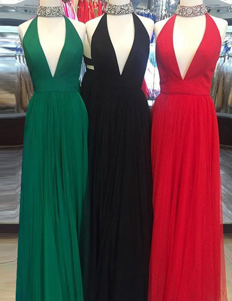 Halter Prom Dresses,Tulle Prom Dress,Long Prom Dress for Teens,PD00328