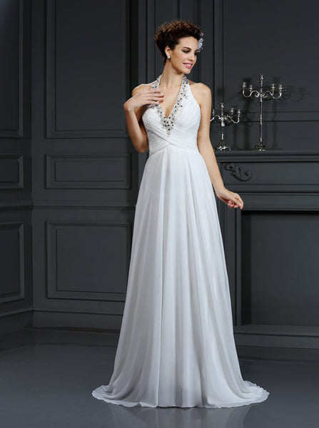 Halter Wedding Dresses,Beach Wedding Dress,Chiffon Wedding Dress,WD00275