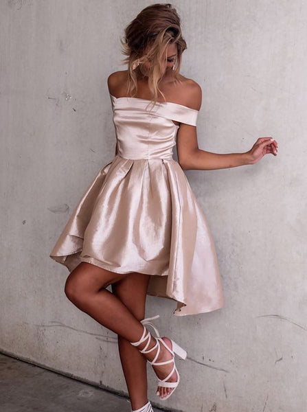 High Low Homecoming Dresses,Off the Shoulder Homecoming Dress,Taffeta Homecoming Dress,HC00137