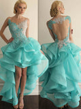 High Low Homecoming Dresses,Turquoise Homecoming Dress,Ruffled Homecoming Dress,HC00138