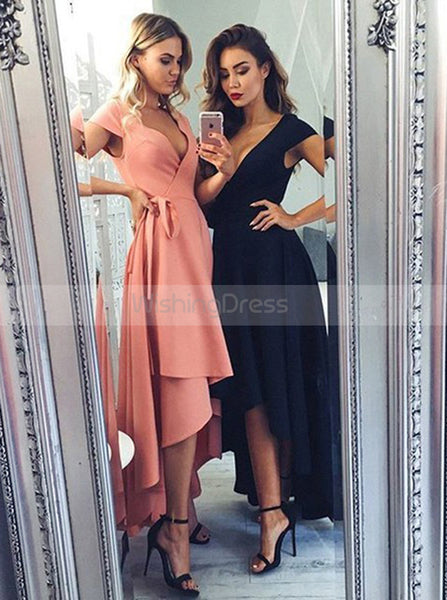 High Low Homecoming Dress,Satin Prom Dress with Sash,Modest Evening Dress with Cap Sleeves PD00059