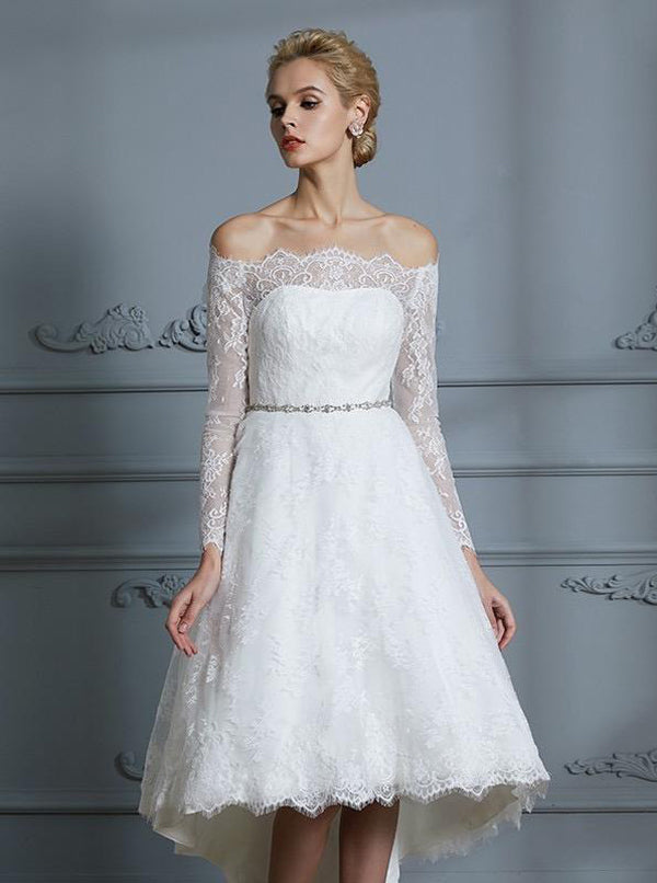 High Low Wedding Dresses Beach Wedding Dress Lace Wedding Dress With Long Sleeves Wd00246