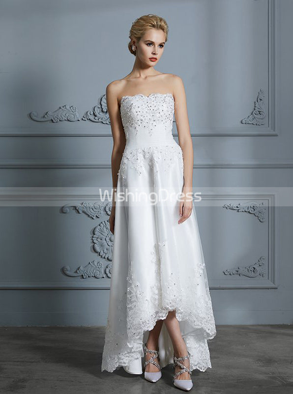 High Low Wedding Dresses Strapless Bridal Dress Beach Wedding Dress Wd00299