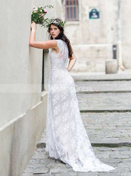 High Neck BOHO Wedding Dress,Lace Wedding Dress with Sweep Train,WD00445