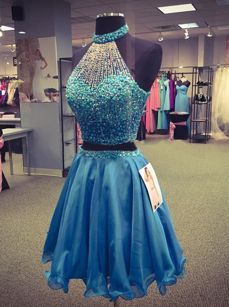 High Neck Homecoming Dresses,Beaded Homecoming Dress,Two Piece Homecoming Dress,HC00098