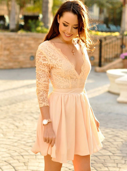 Homecoming Dresses with Long Sleeves,Short Homecoming Dress,Modest Homecoming Dress,HC00056