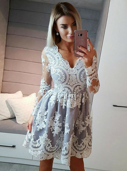Homecoming Dresses with Sleeves,Lace Homecoming Dresses,Short Homecoming Dress,HC00177