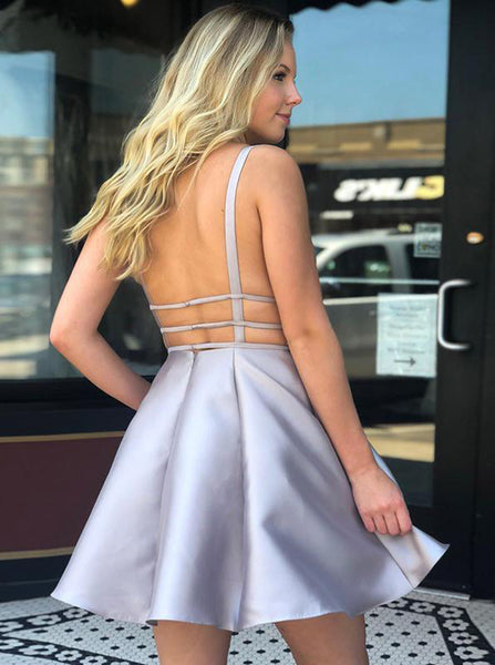 Silver Cocktail Dresses,Open Back Cocktail Dress,Simple Cocktail Dress,Short Cocktail Dress,CD00053