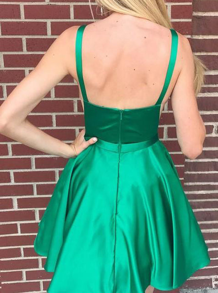 Green Cocktail Dresses,Satin Cocktail Dress,Short Cocktail Dress,CD00060