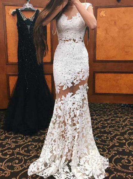 Illusion Lace Prom Dresses,Mermaid Long Evening Dress ,PD00392