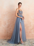 Illusion Prom Dress with Slit,Dusty Blue Evening Dress,PD00459