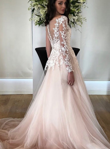Illusion Wedding Dresses with Sleeves,Princess Floral Bridal Dress,WD00353