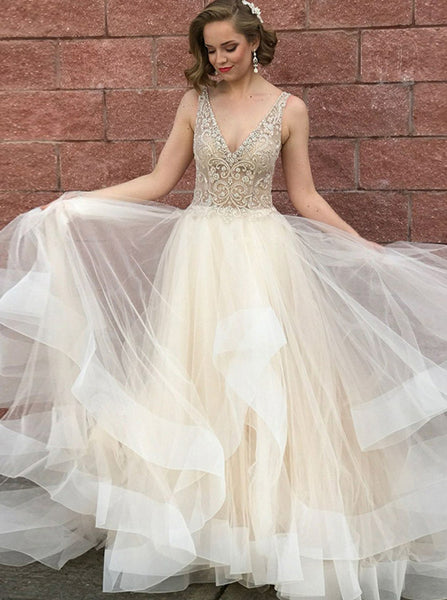 Illusional Bodice Prom Dress,Tulle Prom Dress for Teens,Chic Prom Dress with Train PD00040