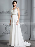 Informal Wedding Dresses,Chiffon Bridal Dress with Train,Beach Wedding Dress,WD00294
