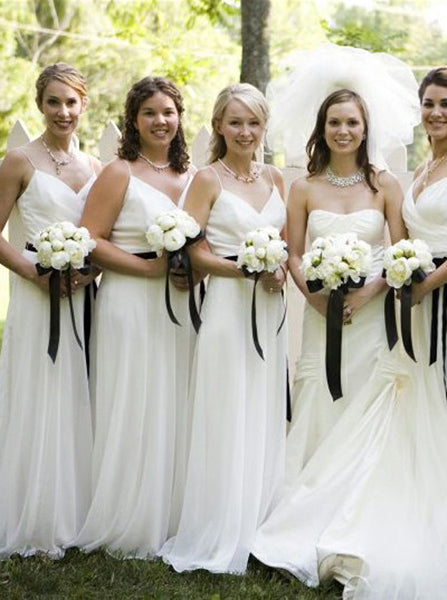 Ivory Bridesmaid Dress,Long Chiffon Bridesmaid Dress with Sash,Strappy Bridesmaid Dress,BD00065