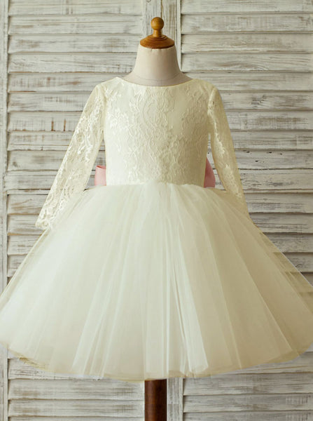 Ivory Flower Girl Dresses,Ball Gown Tulle Flower Girl Dress,Flower Girl Dress with Sleeves,FD00001