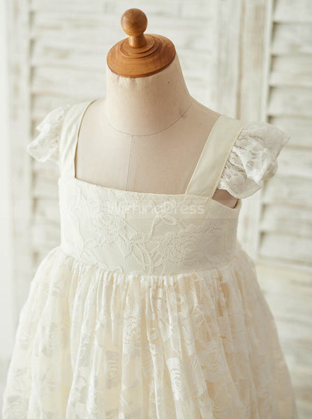 Ivory Flower Girl Dresses,Lace Flower Girl Dress,Beautiful Flower Girl Dress,FD00071