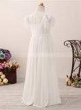 Ivory Flower Girl Dresses,Lace Junior Bridesmaid Dress with Cap Sleeves,FD00055