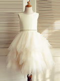 Ivory Flower Girl Dresses,Tulle Ruffled Flower Girl Dress,FD00031