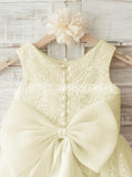 Ivory Lace Flower Girl Dress,Cute Flower Girl Dress with Bow,FD00035