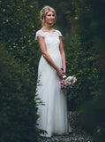 Ivory Wedding Dress,Boho Wedding Dress,Lace Bridal Dress,Cap Sleeves Bridal Dress,WD00138