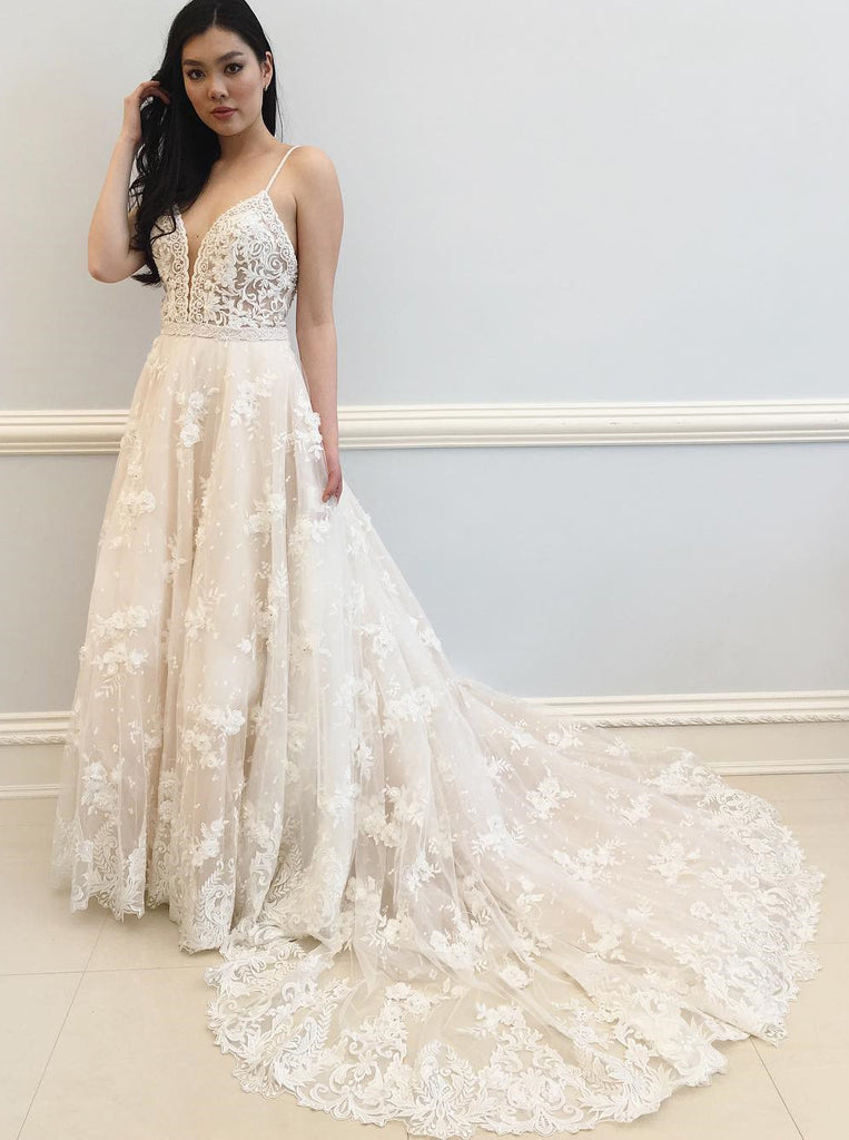 Ivory Wedding Dress,Lace Wedding Dresses,Wedding Dress with Straps ...